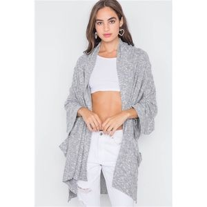 CHARCOAL HEATHERED OPEN FRONT SOFT CASUAL CARDIGAN